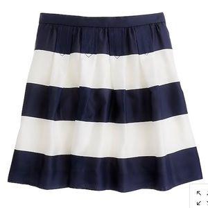 J.Crew Navy Awning Stripe Silk Skirt w Pockets